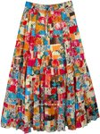 Monarch Multi Color Patchwork Maxi Skirt 18 Tiers