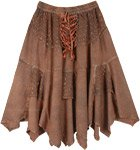 Hawaiian Tan Lace Up Handkerchief Hem Skirt Midi Length