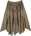 Dusky Olive Green Mid Length Handkerchief Hem Skirt