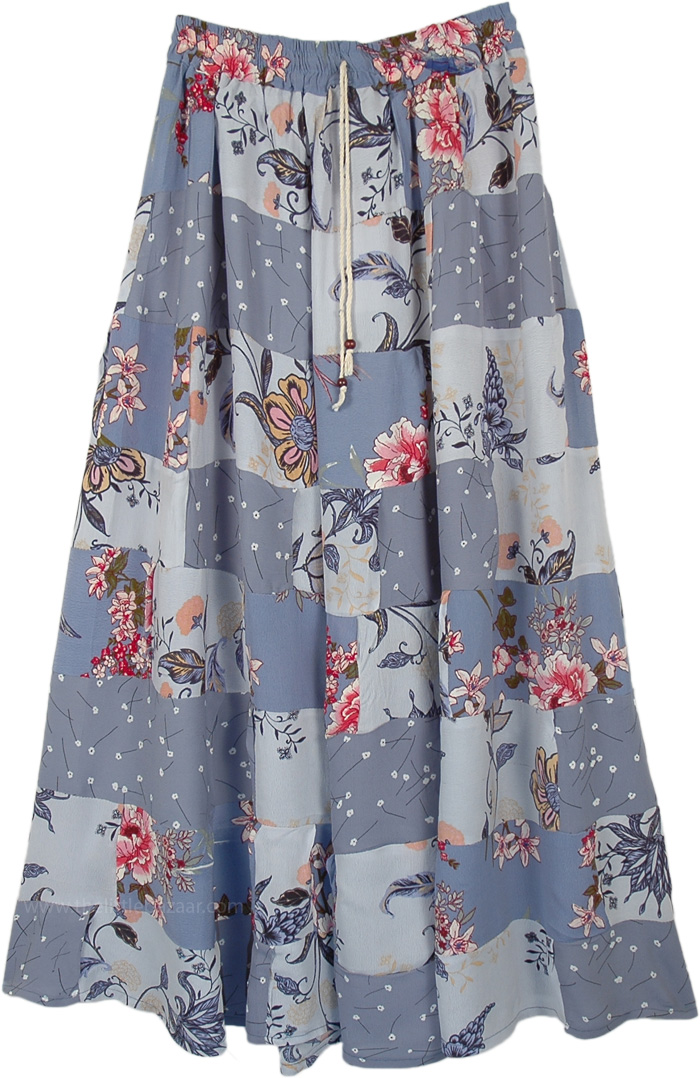 Dolphin Grey Floral Print Boho Patchwork Skirt