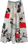 Snowy Dawn Mixed Print Boho Patchwork Skirt