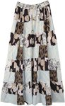 Snowy Forest Mixed Print Boho Patchwork Skirt