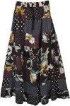 Black Long Skirt Floral Printed Mixed Patchwork Skirt