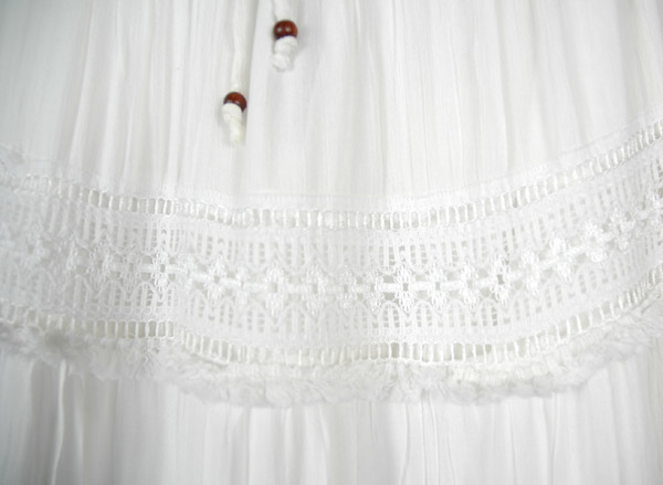 Evening Ivory Long Lace Skirt with Crochet Tier Details