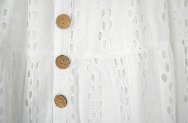 Pure White Eyelet Skirt in Cotton with Brown Buttons