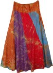 Tie Dye Maxi Skirt in Vertical Patchwork
