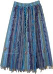 Gypsy Skirt in Blue Tones Long Vertical Patchwork