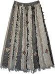 Grey Black Vertical Patchwork Skirt with Thread Fringes