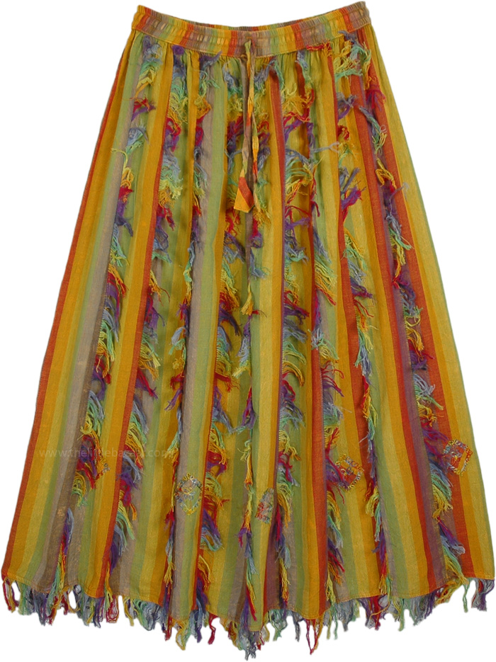 Prismatic Multicolored Vertical Patchwork Skirt with Fringes
