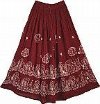Maroon Long Skirt with Mirrors