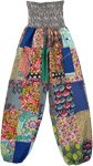 Smocked Waist Mixed Patchwork Elastic Bottom Harem Pants