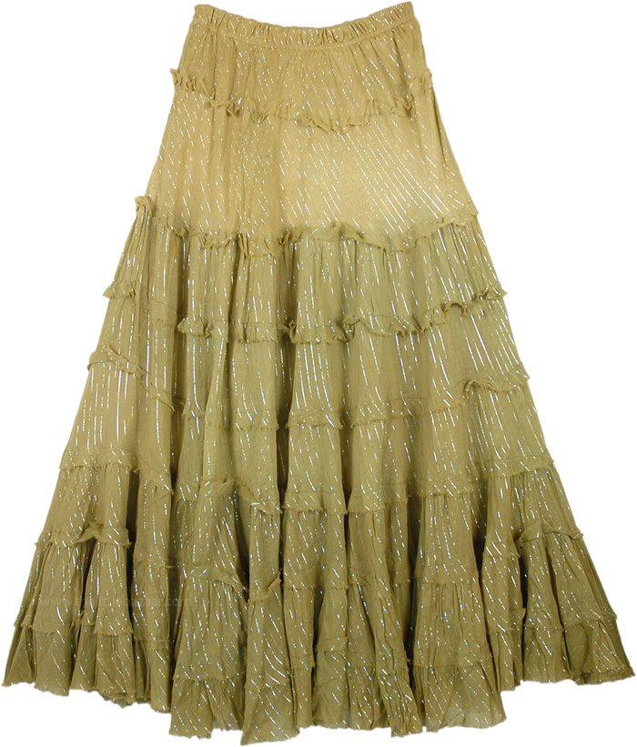 Henna Ombre Tinsel Cotton Mid Length Skirt