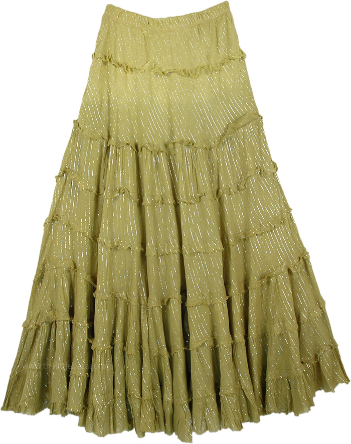 True Olive Ombre Tinsel Cotton Tiered Skirt