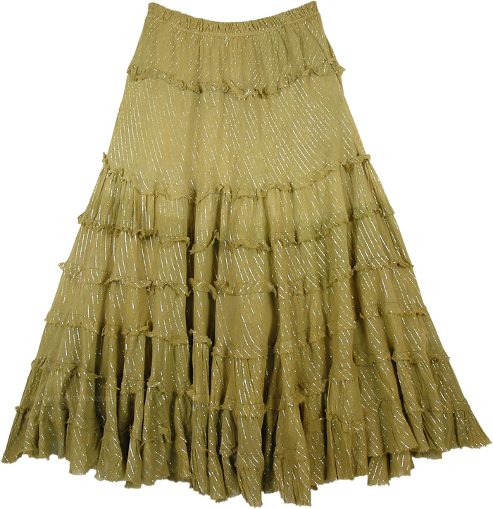 Dusky Olive Ombre Tinsel Tiered Cotton Skirt