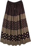Jet Black and Gold Painted Rayon Long Skirt