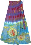 Ocean Blues Hippie Tie Dye Wrap Around Skirt