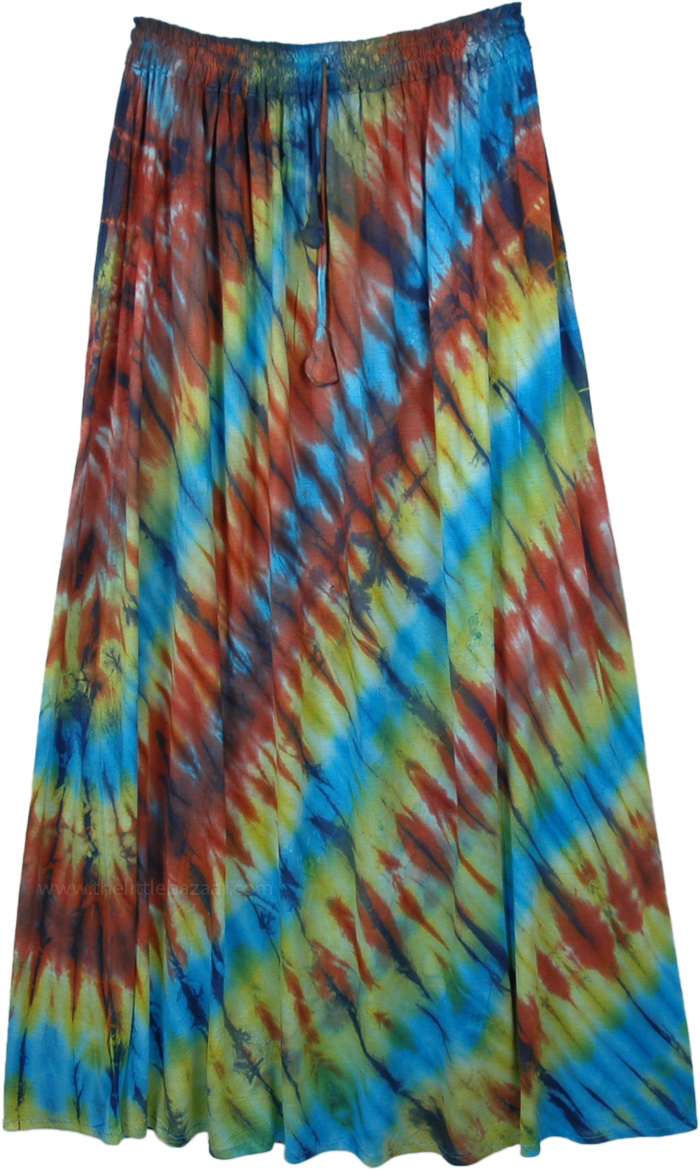 Island Vacation Tie Dye Long Summer Skirt