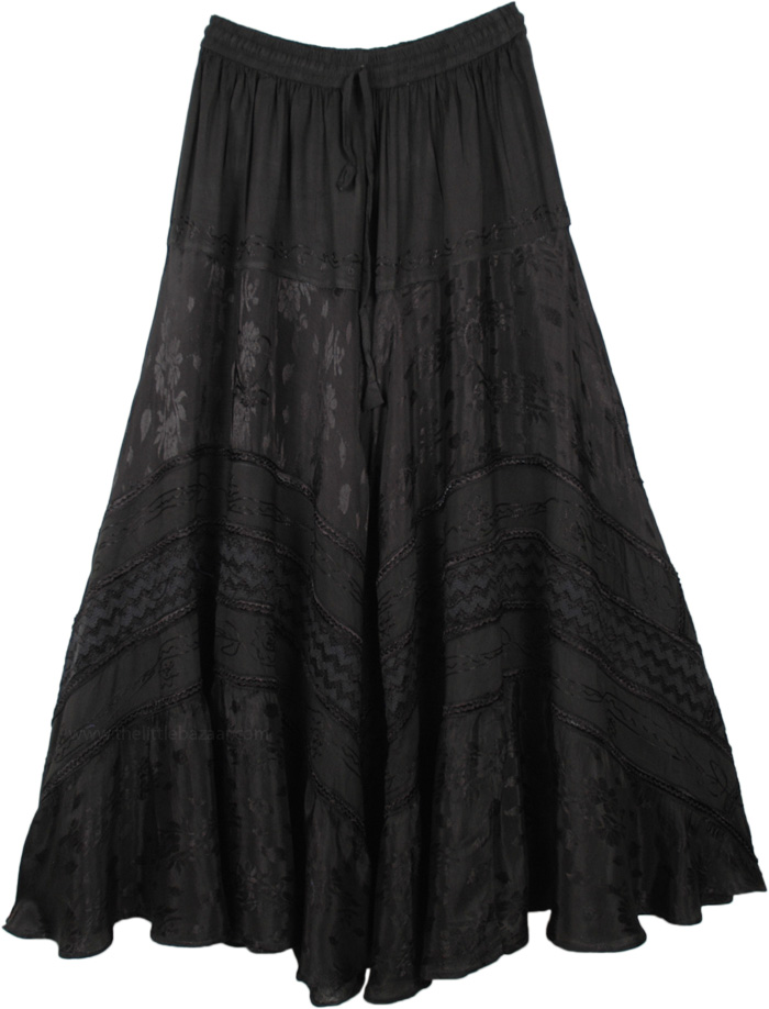 Midnight Black Boho Embroidered Rayon Renaissance Skirt