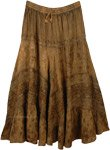 Rustic Brown Medieval Style Rayon Renaissance Skirt