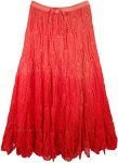 Ombre Velvet Red Crochet Long Cotton Skirt