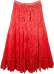 Ombre Velvet Red Crochet Long Cotton Skirt