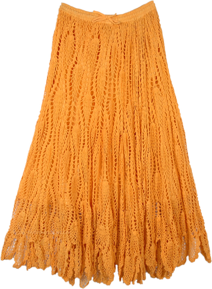 Subtle Saffron Crochet Long Skirt with Drawstrings
