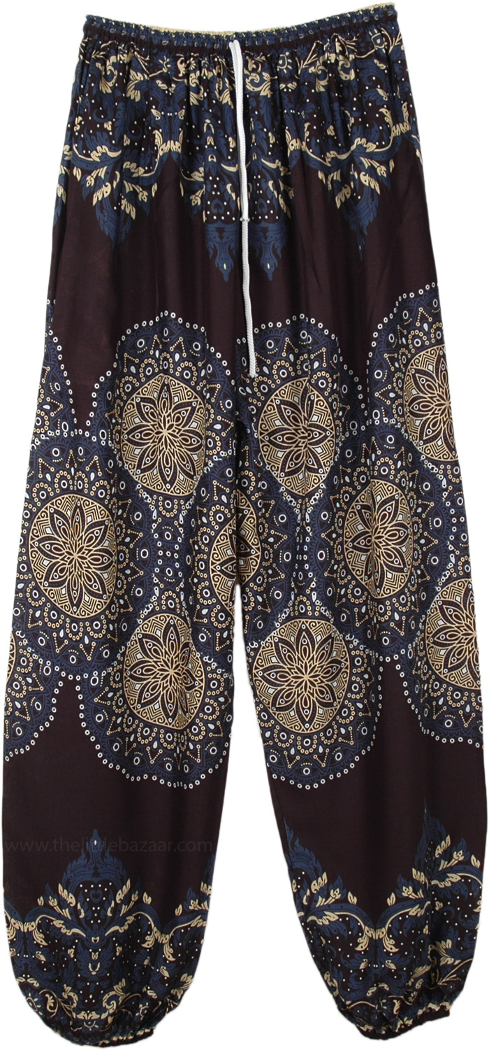 Deep Blue Printed Ankle Elastic Harem Pants