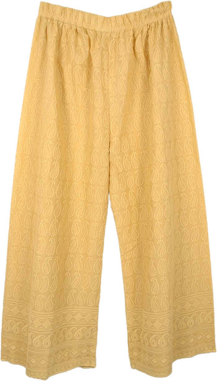 Beige Wide Straight Leg Embroidered Cotton Pants