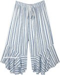 White Rayon Striped Summer Pants with Flared Bottom