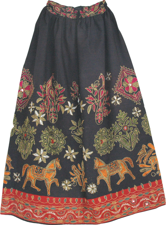 Hand Embroidered Womens Long Skirt