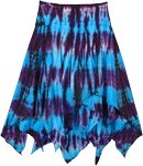 Asymmetrical Blue and Purple Tie Dye Bohemian Cotton Skirt