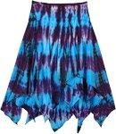 Asymmetrical Blue and Purple Tie Dye Bohemian Cotton Skirt