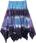 Blue and Dusty Mauve Tie Dye Summer Skirt with Uneven Hem