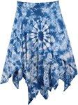 Fresh Blue Tie Dye Double Layer Cotton Skirt