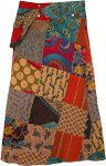 Patchwork Snap Wrap Long Skirt with Fanny Pack