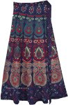 Boho Blue Block Print Cotton Wrap Skirt