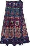 Boho Blue Block Print Cotton Wrap Skirt