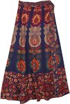XXL Floral Block Printed Long Cotton Wrap Skirt