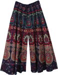 Navy Ethnic Peacock Wide Leg Full Flare Pants