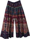 Navy Ethnic Peacock Wide Leg Full Flare Pants
