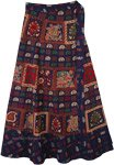 Navy Blue Tribal Elephant Print Wrap Around Skirt
