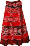 Red Tribe Batik Wrap Around Cotton Skirt