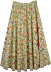 Tropical Floral Cotton Printed Long Skirt For Summer