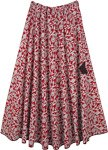 Long Circular Skirt Cotton Red with White Print