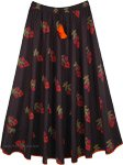 Flared Festive Long Black Skirt with Floral Print