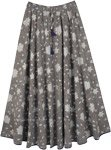 Dreamy Gray Tiered Long Skirt with Floral Print