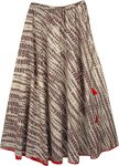 Hazelnut Brown Abstract Print Cotton Long Skirt