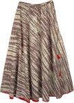 Hazelnut Brown Abstract Print Cotton Long Skirt