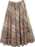 Bohemian Voyage Flowing Long Cotton Skirt in Brown