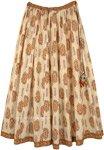 Creamy Beige Floral Print Cotton Festival Skirt